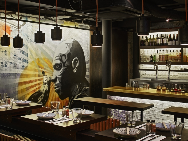 restaurant with vibe is relaxed, social, friendly and urban chic taking themes from the streets of modern Tokyo.