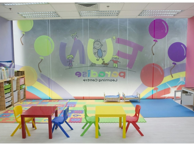 main event space area for kids birthday party with colourful setup