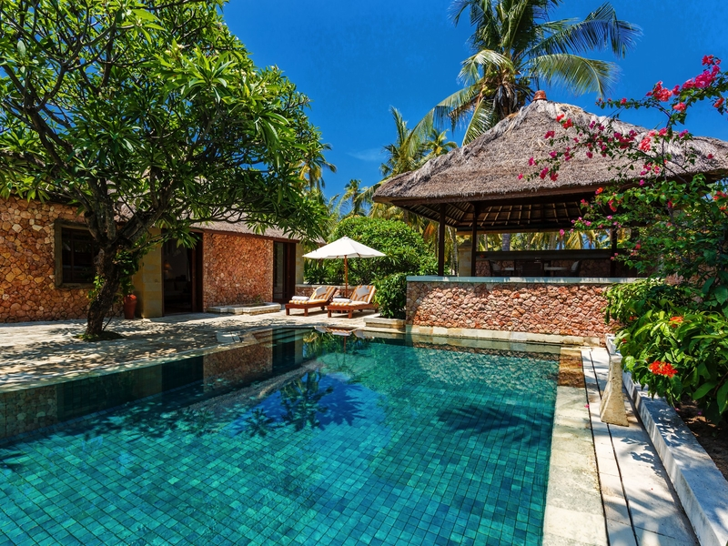 the oberoi beach resort lombok villa with private pool