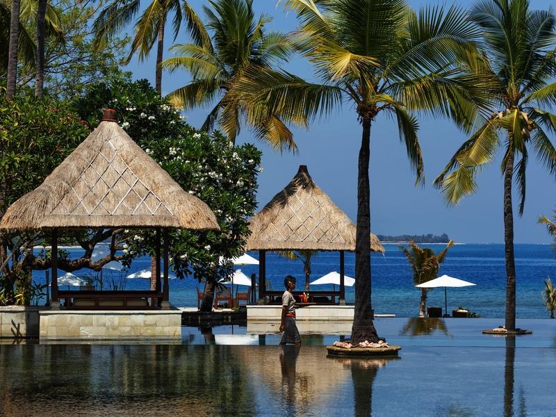 the oberoi beach resort lombok tea time with sea view