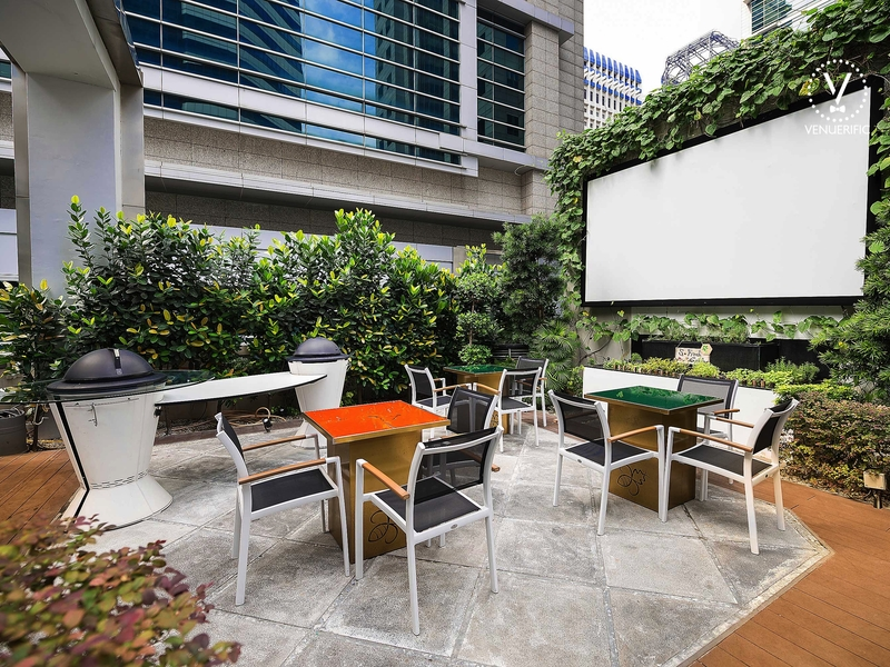 rooftop area with screen setup for meeting