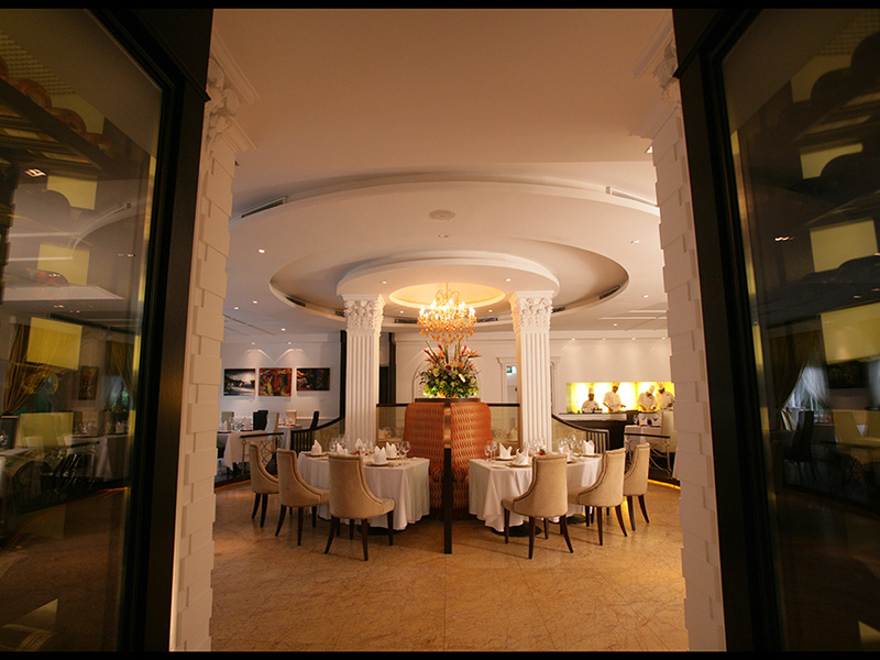 fine dining indian restaurant in singapore with high and round ceiling