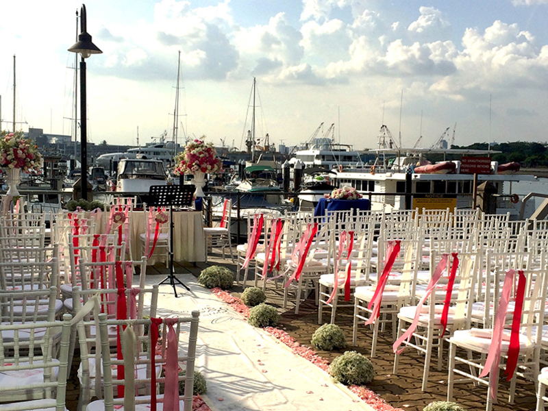 seaside intimate wedding space with yacht harbour view