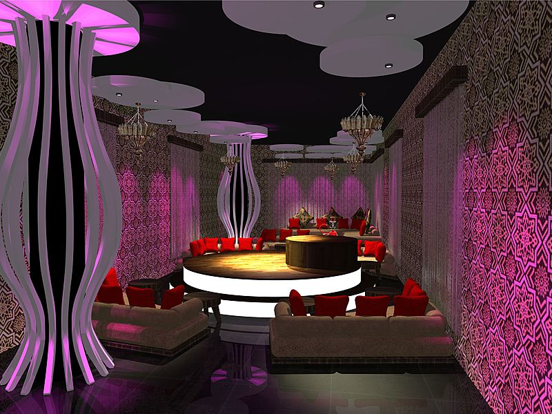 modern club interior with purple dominant colour