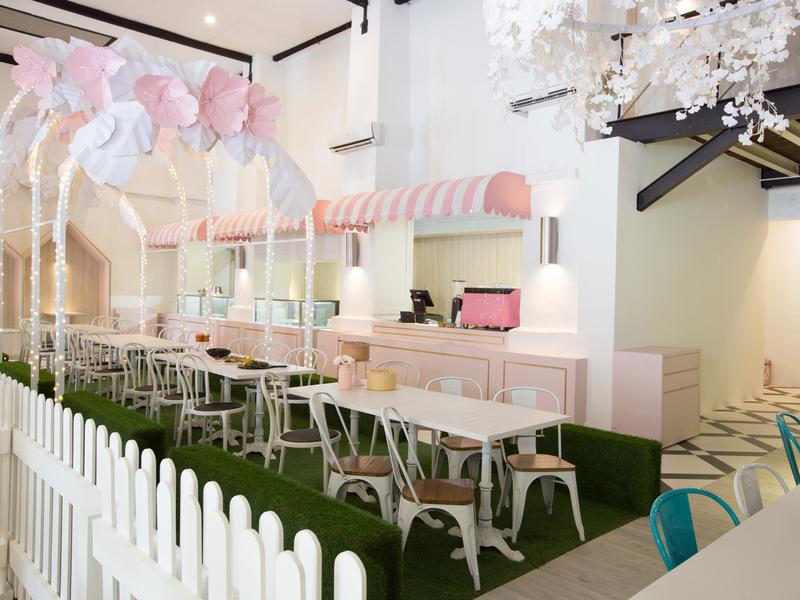 pink and white design interior