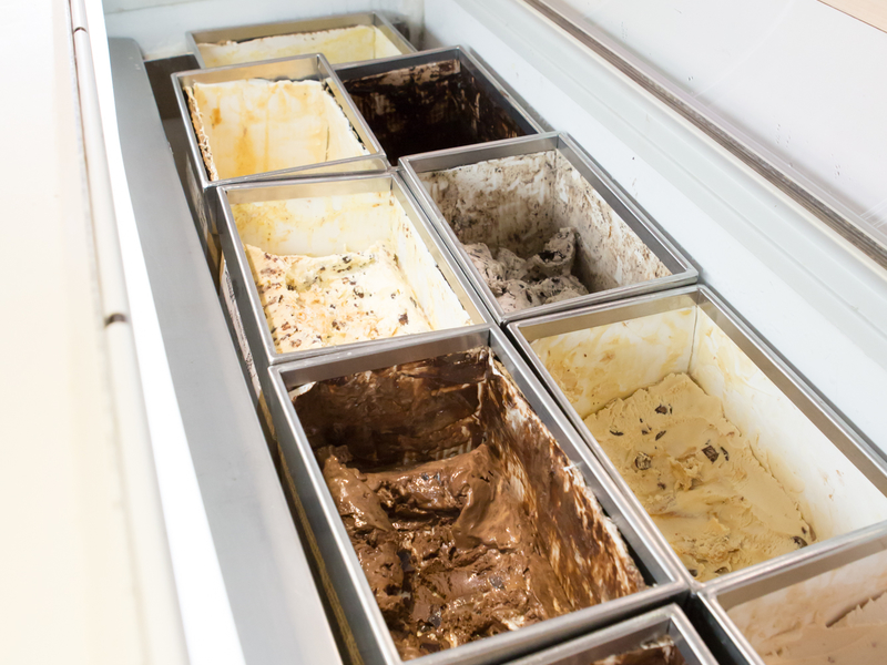 ice cream with many flavour options