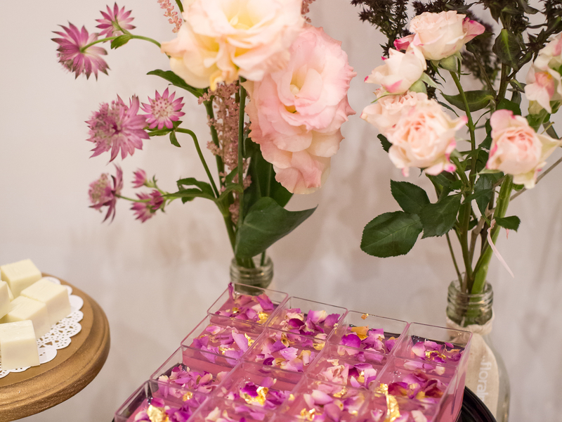 table decorated with flower