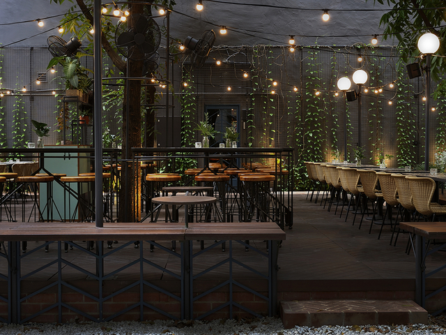 singapore restaurant with garden style and fairy lights