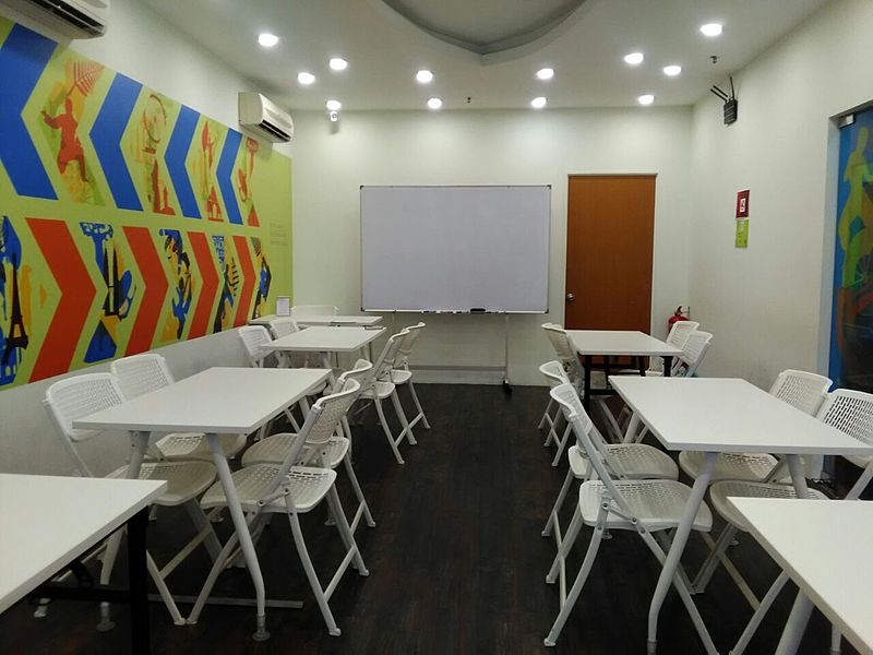 private room for workshop event with white board
