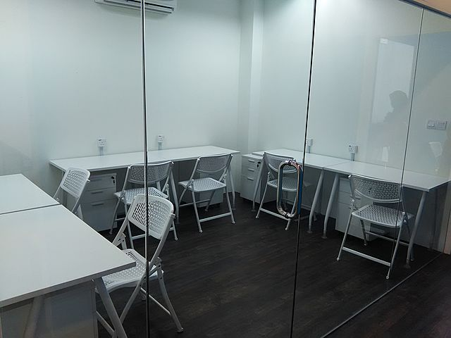 minimalist glass door room for small private office