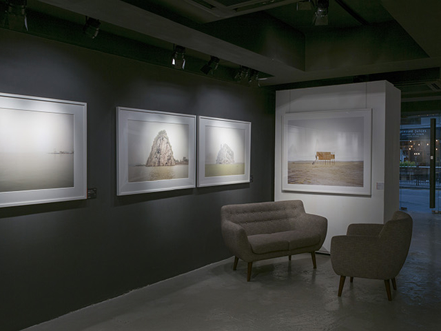 art gallery in black and grey interior