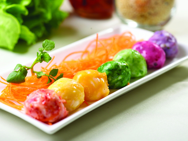 colourful fusion food served on the table
