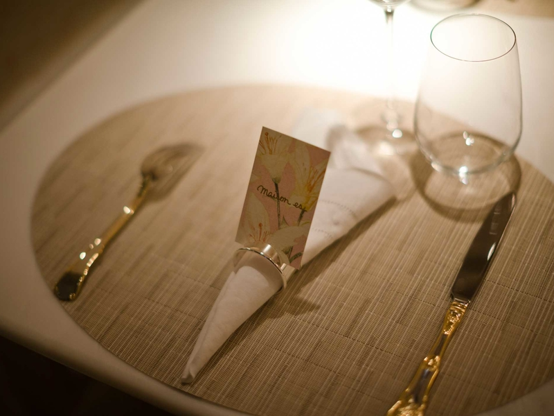 fine dining cutlery setting on table
