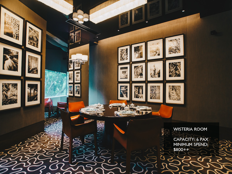 singapore black themed restaurant with patterned floors and wall decor