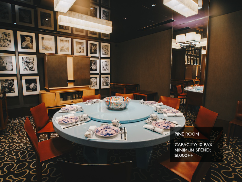 singapore private dining room with blue round table and wall decor