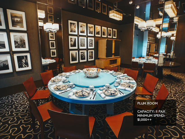 chinese new year dining place with blue round table and black wall