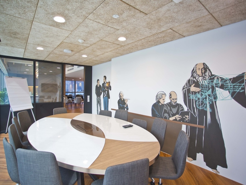 round table meeting space with standing flipchart