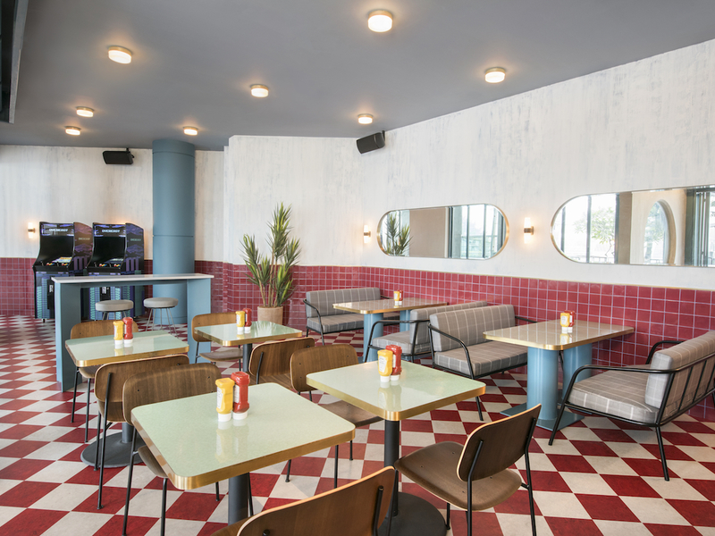 cute restaurant with red and white themes