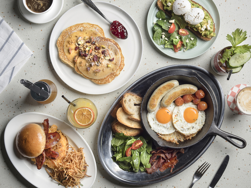 special menu for brunch with avocado toast and egg