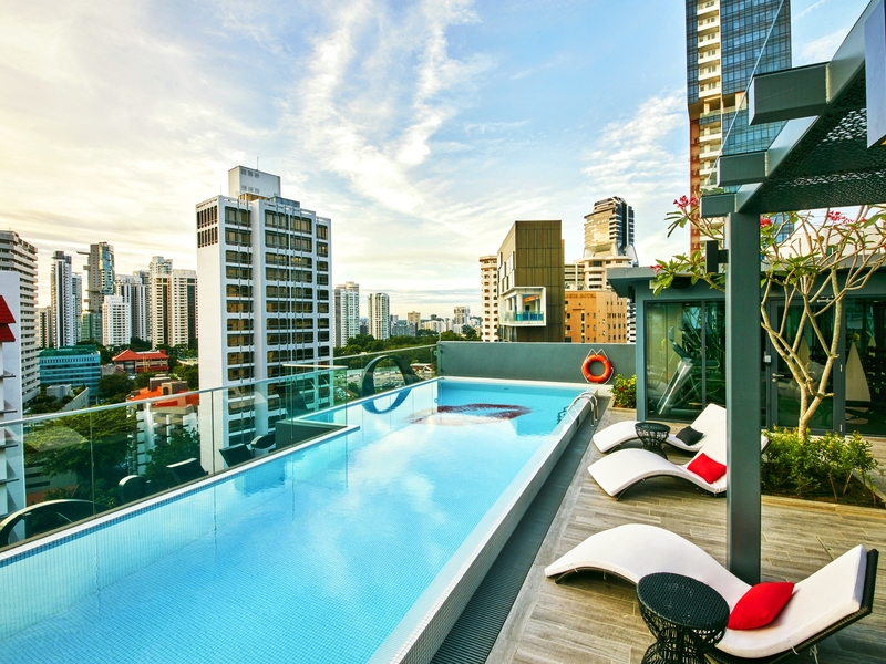 rooftop pool with city view