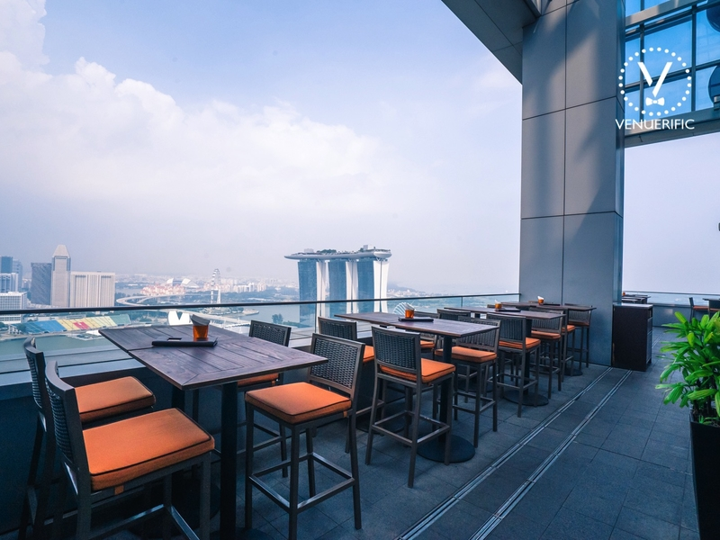 outdoor dining restaurant with marina bay singapore view