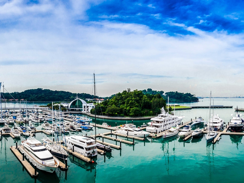 several yacht parking in singapore port