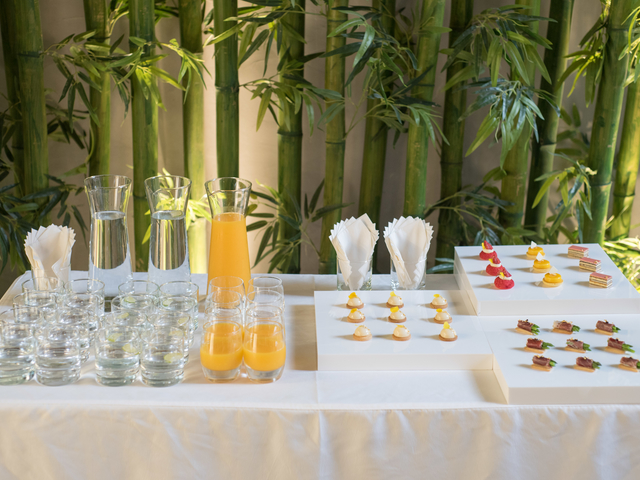cocktail and dessert lineup on table