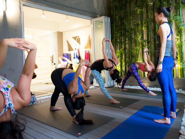 yoga class in soho yard gallery and event space