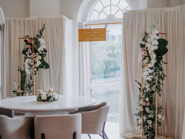 singapore intimate wedding venue decorated with white drape and flowers