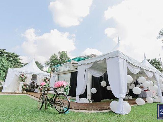 outdoor wedding event venue with garden view