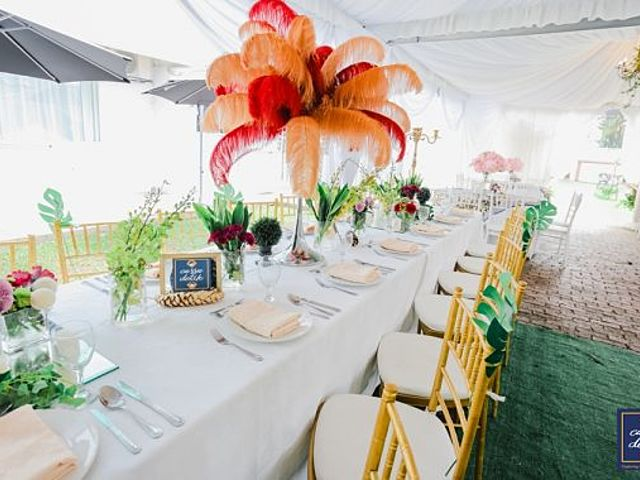 wedding reception luncheon with garden theme table decoration