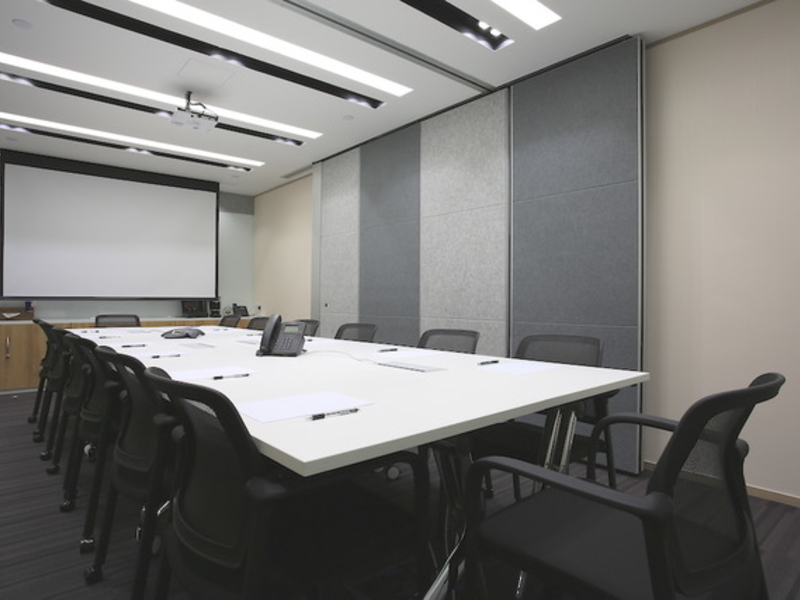 large meeting room with projector