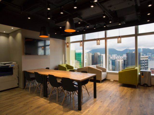 coworking space area with hongkong city view