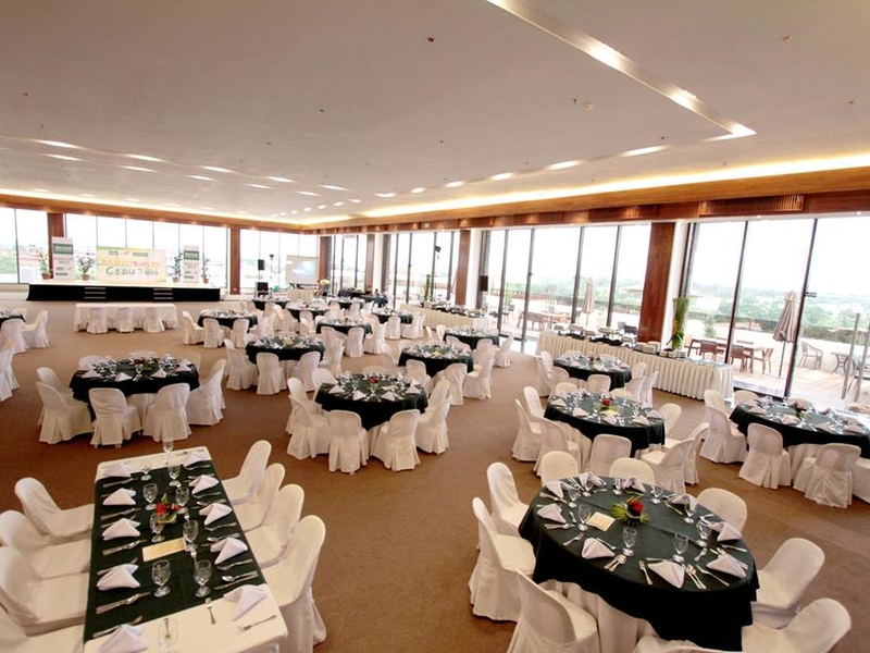 hotel function room with floor to ceiling window