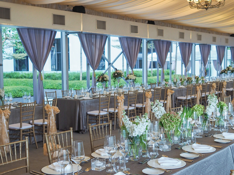 wedding dining event table decorated with flower