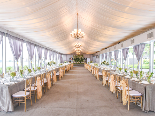 long dining table decorated for wedding