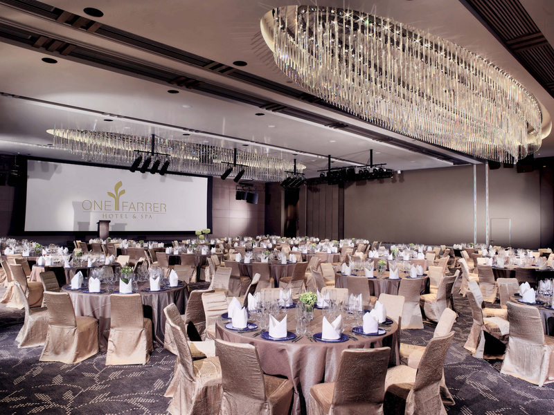 gala dinner with elegant ballroom with round table