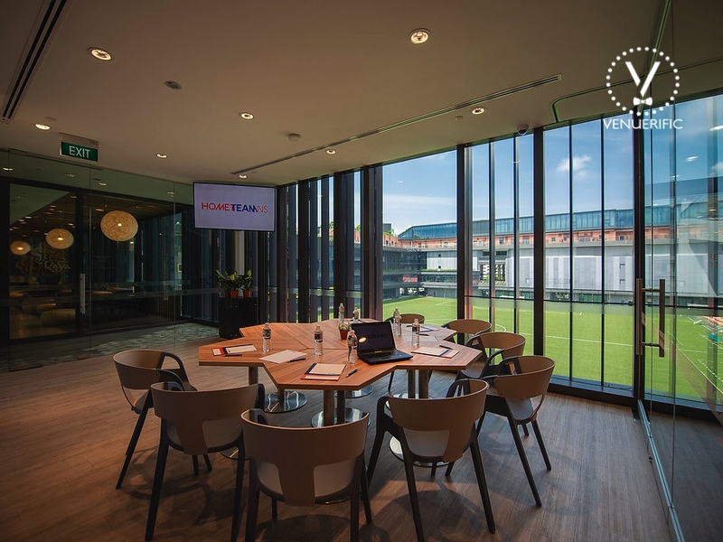 private room and big windows with outdoor soccer view