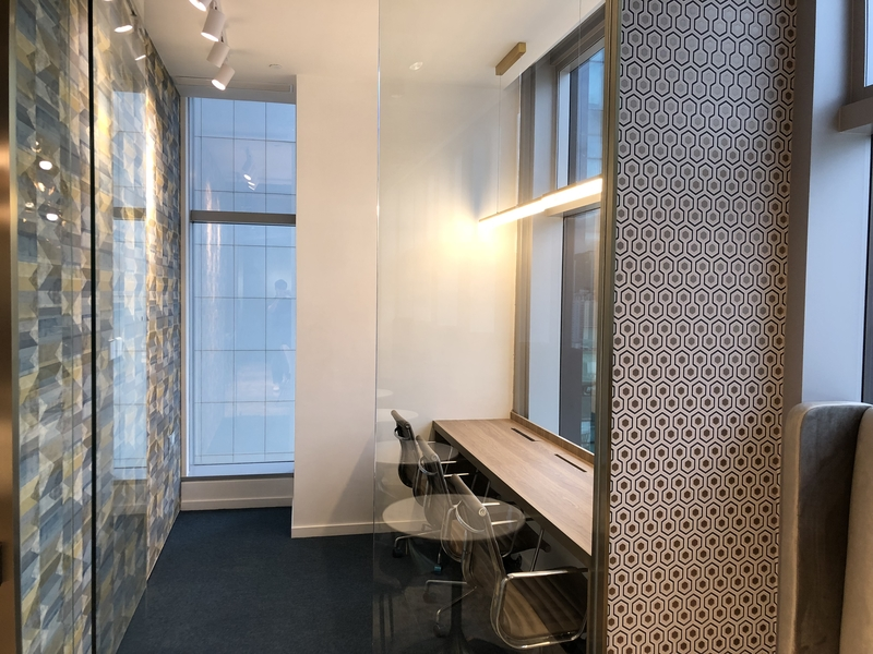 private meeting room with floor to ceiling window