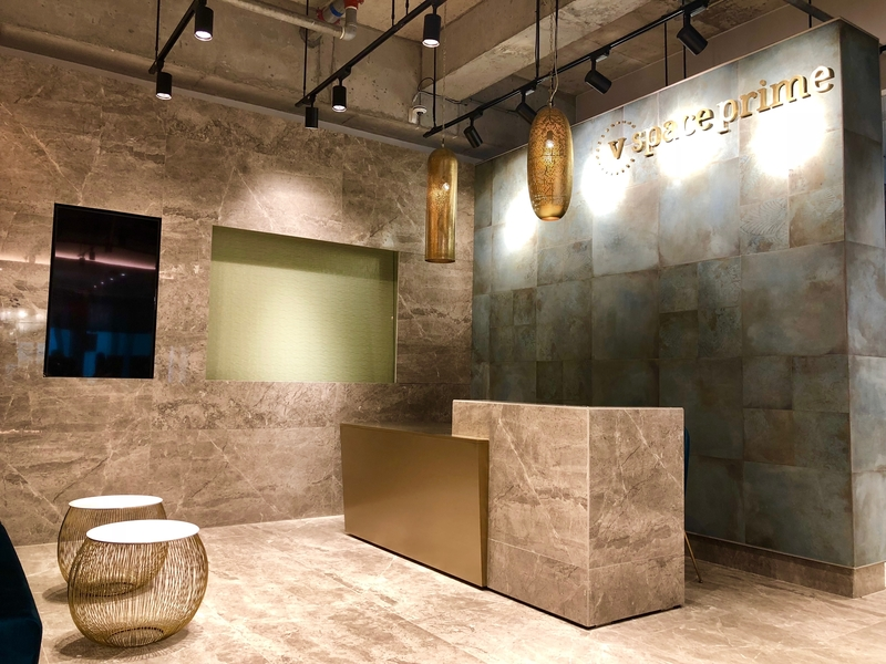 industrial style of the reception area