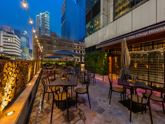 the chop house restaurant outdoor space hong kong night view