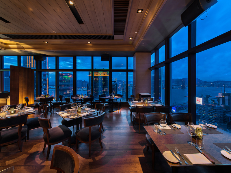 steak restaurant with floor to ceiling window
