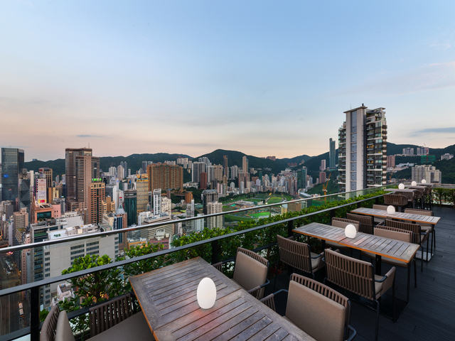 outdoor dining area close to the hong kong view