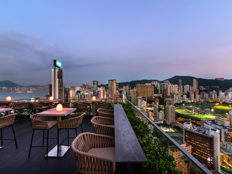 rooftop bar area with city view