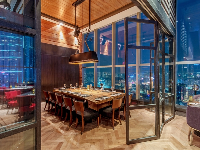 private party room with floor to ceiling window