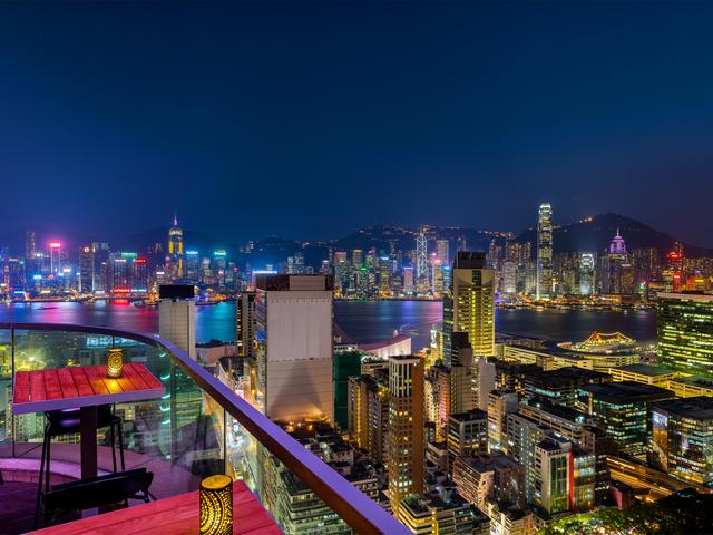 hong kong city view from restaurant area at night