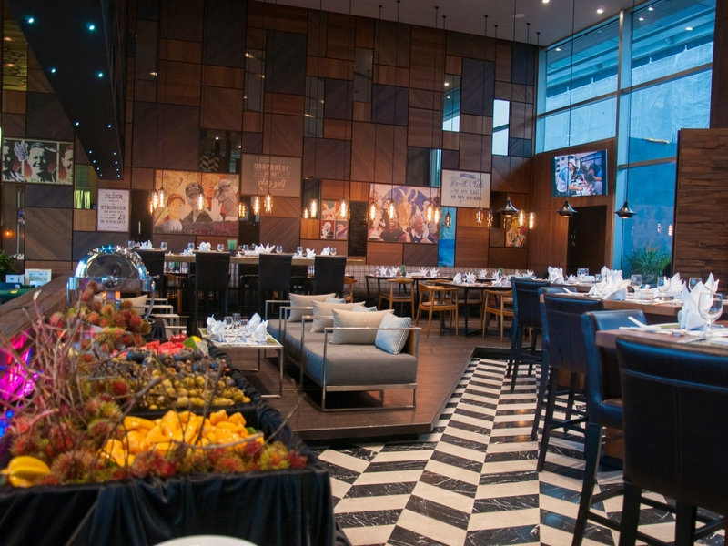 reunion event space with wooden interior and buffet dishes