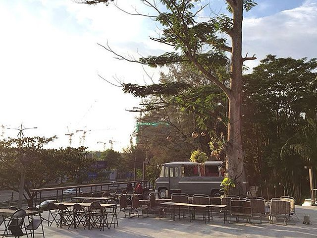 outdoor event space with food truck