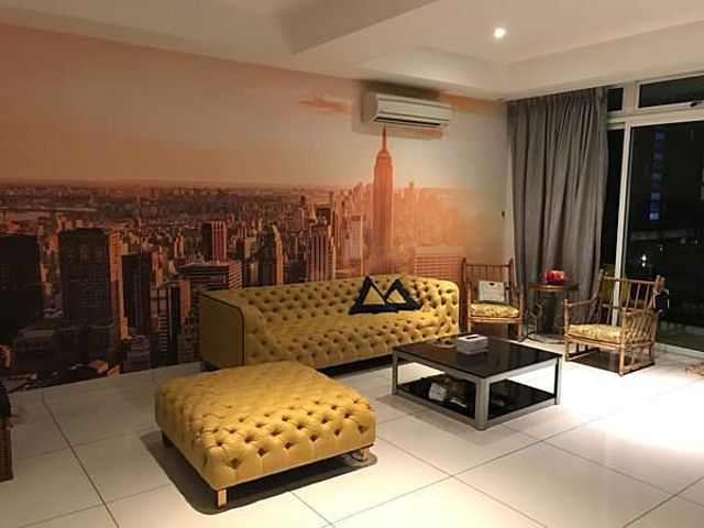 living room with city wallpaper