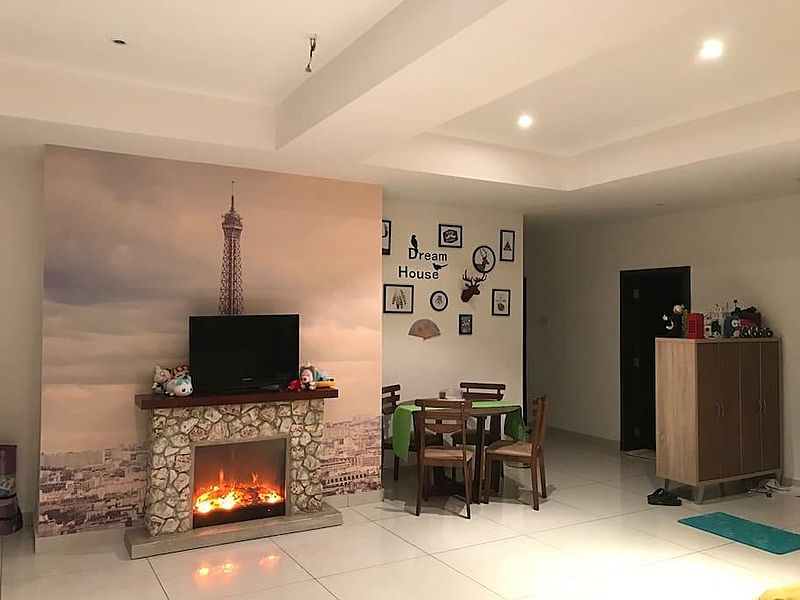 rustic decor of the living room provided with fireplace